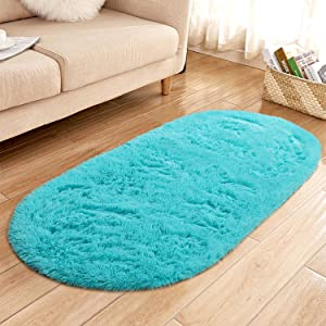 YJ.GWL High Pile Soft Shaggy Area Rugs for Nursery Bedroom Floor Baby Fluffy Carpets Anti-Slip Home Decor Rugs 2.6' X 5.3' Oval Turquoise Blue
