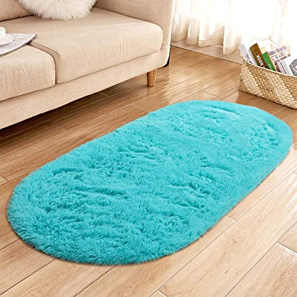 Yj Gwl High Pile Soft Shaggy Turquoise Blue Rug For Bedroom Gilrs Room Mermaid Room Decor Fluffy Area Rugs Kids Anti Slip Nursery Carpets 2 6 X 5 3 Buy Online At Best Price In Uae