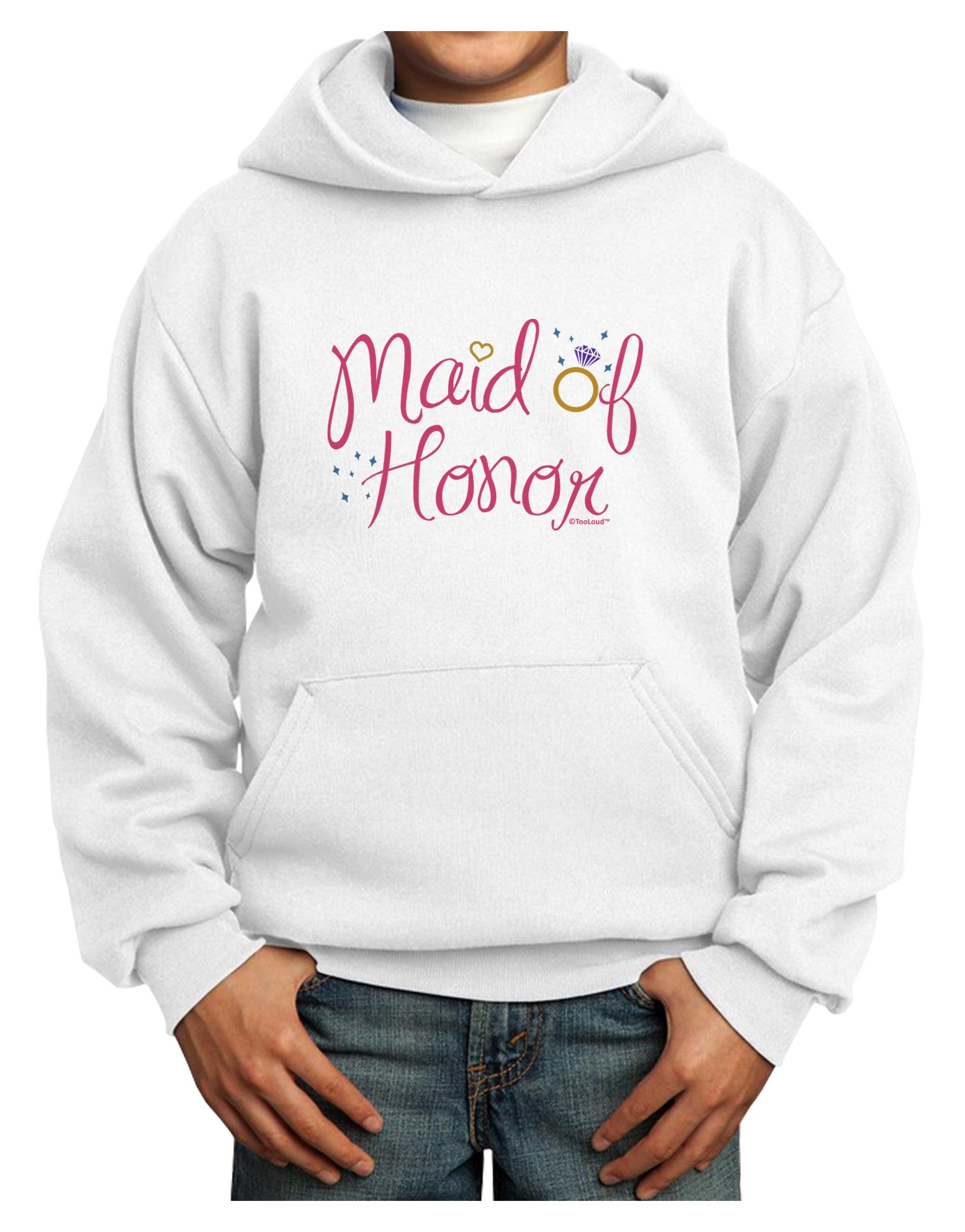 TooLoud Maid of Honor - Diamond Ring Design - Color Youth Hoodie White Medium