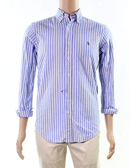 61231ccdfa5c60 Polo Ralph Lauren Men's Classic-Fit Striped Cotton Oxford Shirt  (Blue/White, X-Small) at Amazon Men's Clothing store:
