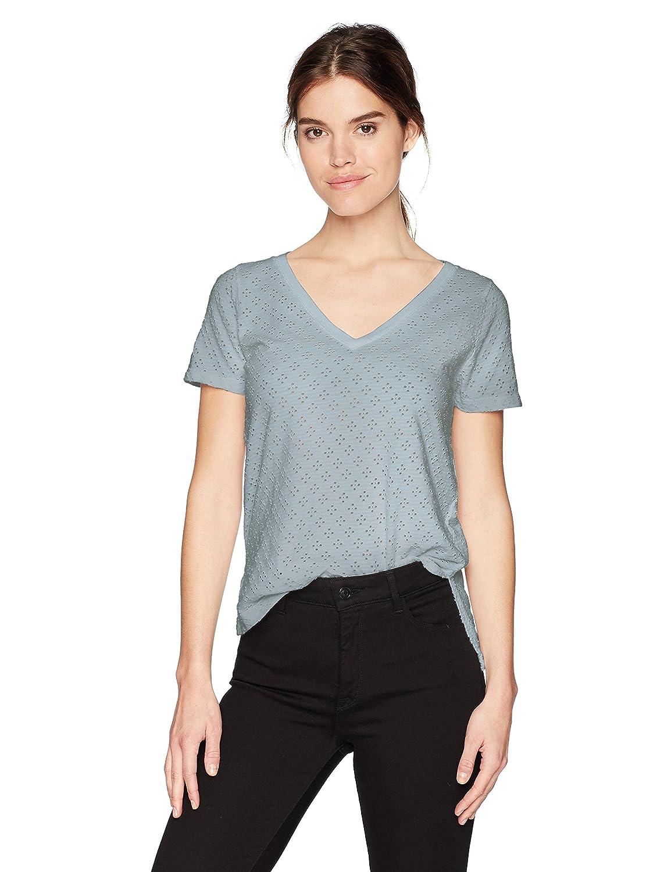 Three Dots Womens Eyelet Knit V-Neck Short Tee
