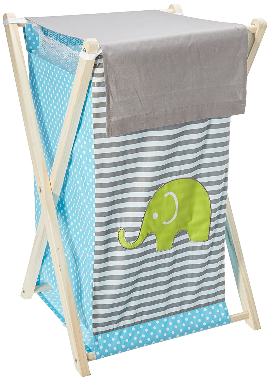 Bacati Elephants Hamper, Aqua/Lime/Grey EALGHA