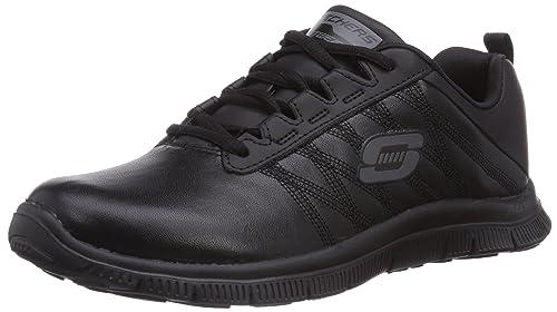 Skechers Flex Appeal Pure Tone - Zapatilla Deportiva de Cuero Mujer, Color Negro, Talla 41: Amazon.es: Zapatos y complementos