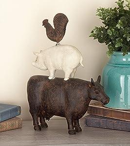 """Deco 79 Farm Animal Figurine Polystone Stack 10"""" W, 14"""" H-44717, 11x3x14, Multi-Colored"""