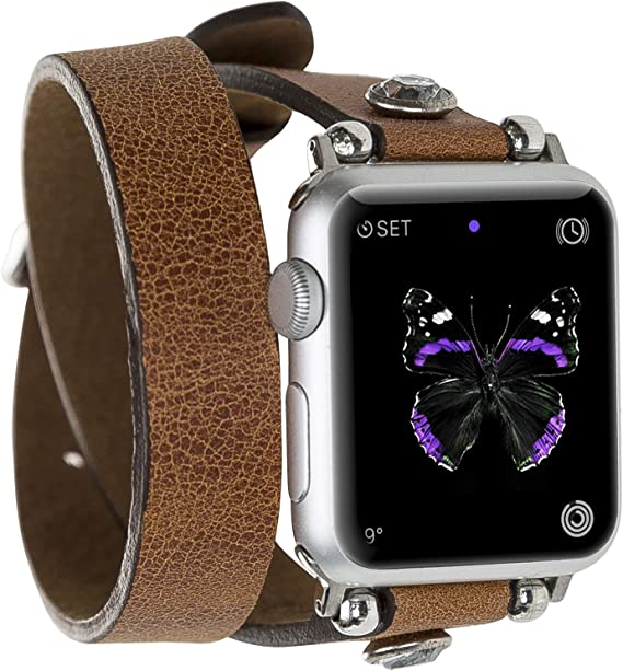 Smart Watch Band Genuine Handmade Leather Replacement Apple Watch Strap Series 1 2 3 4 5 Compatible Apple iWatch 38/42 mm, Diamond Thin Double Wrap, ...