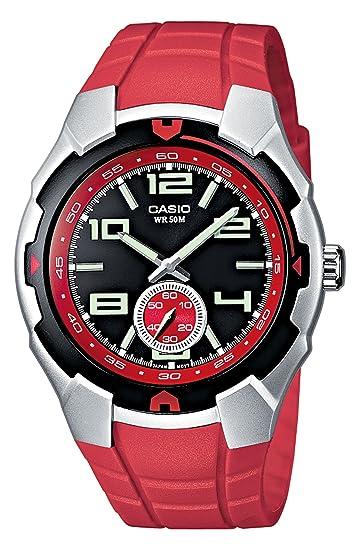 674419da8970 Casio MTR-201-1A4VEF - Reloj analógico de caballero de cuarzo con correa de  resina roja - sumergible a 50 metros  Amazon.es  Relojes