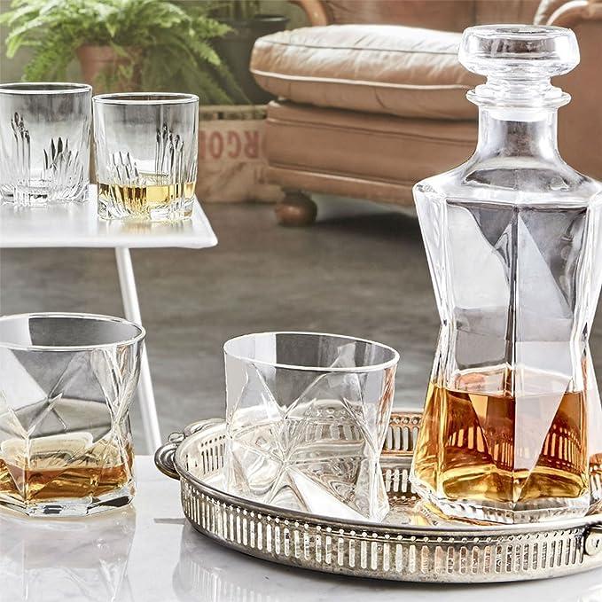 Bormioli Rocco Cassiopea Set Garrafa Jarra para Whisky / Bebidas espirituosas 1000 ml y 4 Vasos 330ml: Amazon.es: Hogar