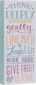 Barnyard Designs Think Deeply Speak Gently Love Much Box Wall Art Sign, Primitive Country Farmhouse Home Decor Sign with Sayings 12 x 5