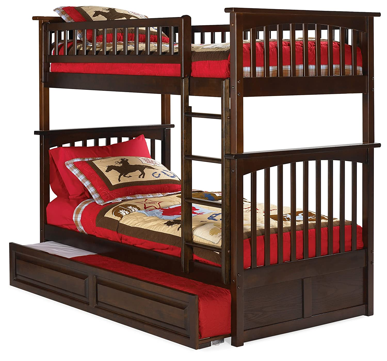Amazon Com Columbia Bunk Bed With Trundle Bed Twin Over Twin