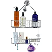 Simple Houseware Bathroom Hanging Shower Head Caddy Organizer (Silver)