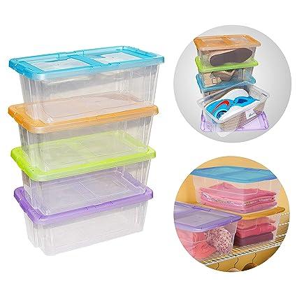 Kurtzy Apilables Caja de Almacenamiento con Tapa (4 Piezas) - Caja de Plástico (