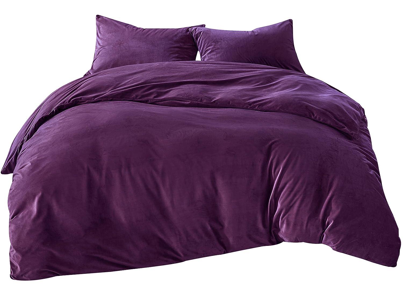 Bettwäsche 135x200cm Lila Einfarbig Flauschig Warm Mit Cashmere