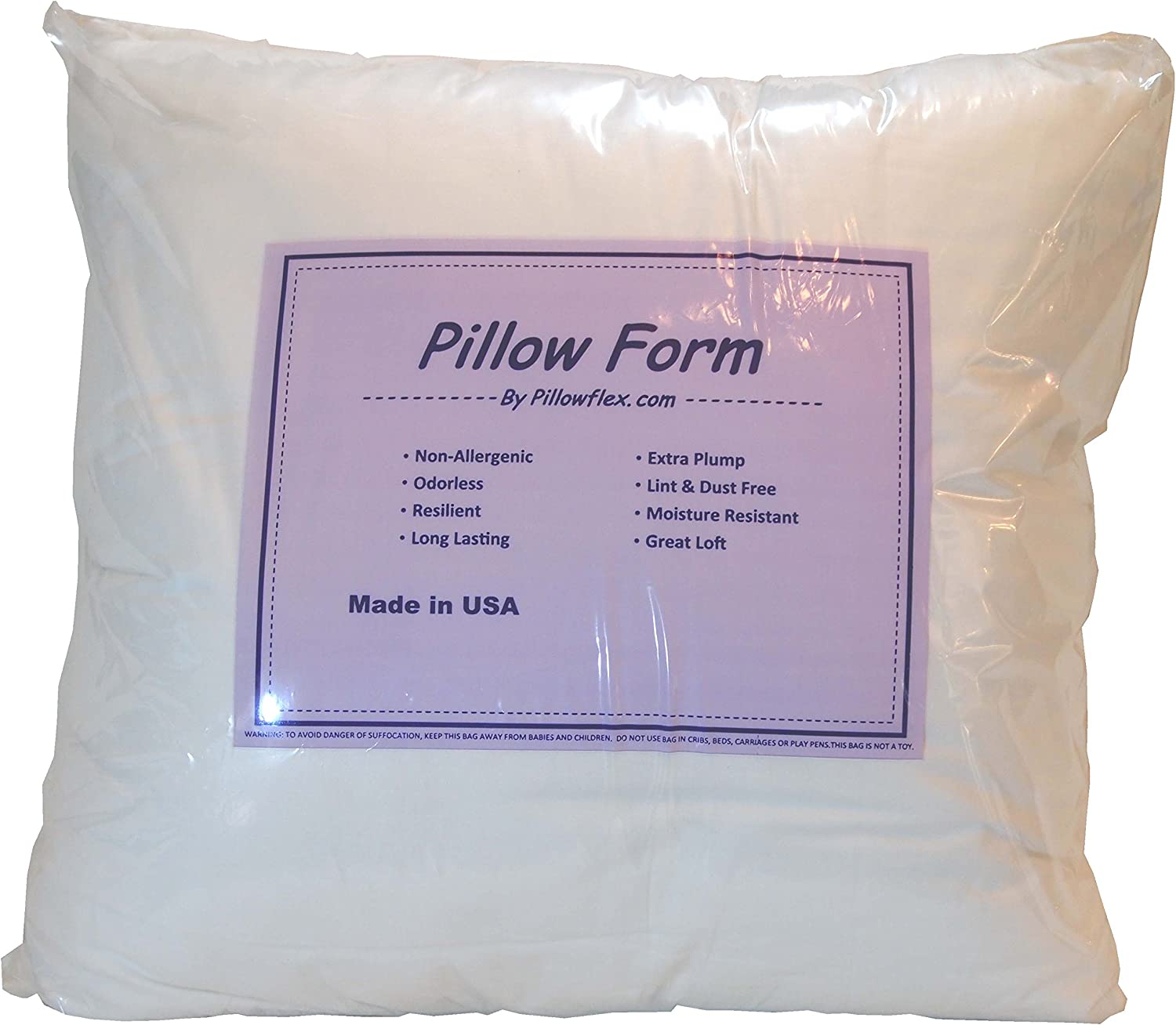 Pillowflex 16x16NW Indoor//Outdoor Non 16-Inch by 16-Inch Woven Pillow Form Insert for Shams or Decorative Pillow Covers