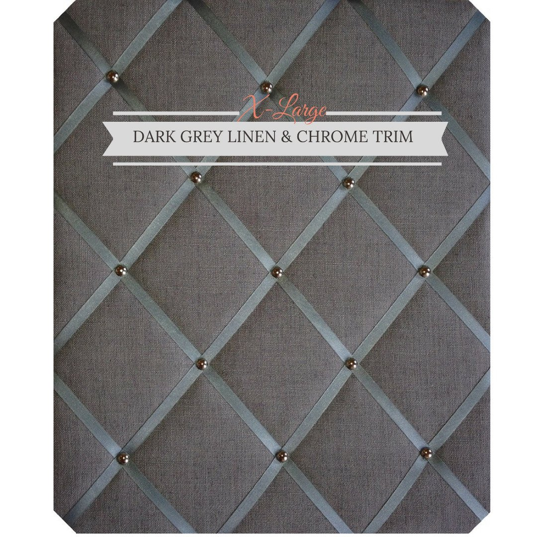 X Large Size Dark Gray Linen Memo Board with Chrome Studwork by Notice Board Store