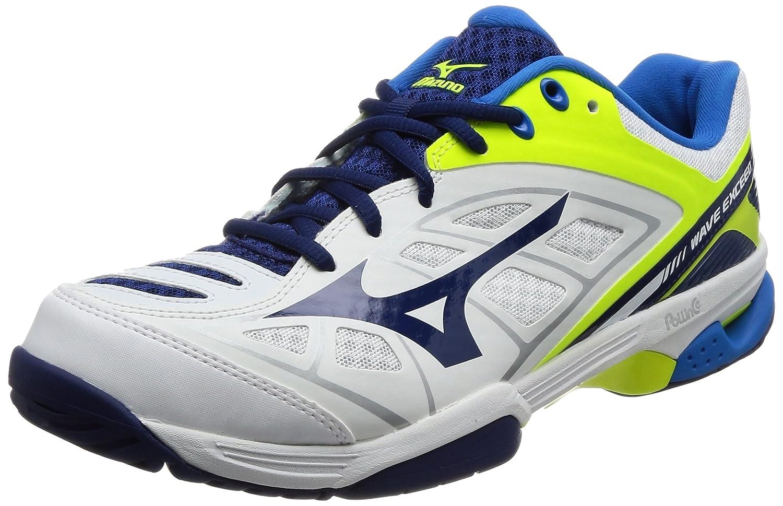 [ミズノ] テニスシューズ ウエーブエクシード AC (旧モデル) B071LMLKP1 26.5 cm ホワイト/ネイビー/イエロー
