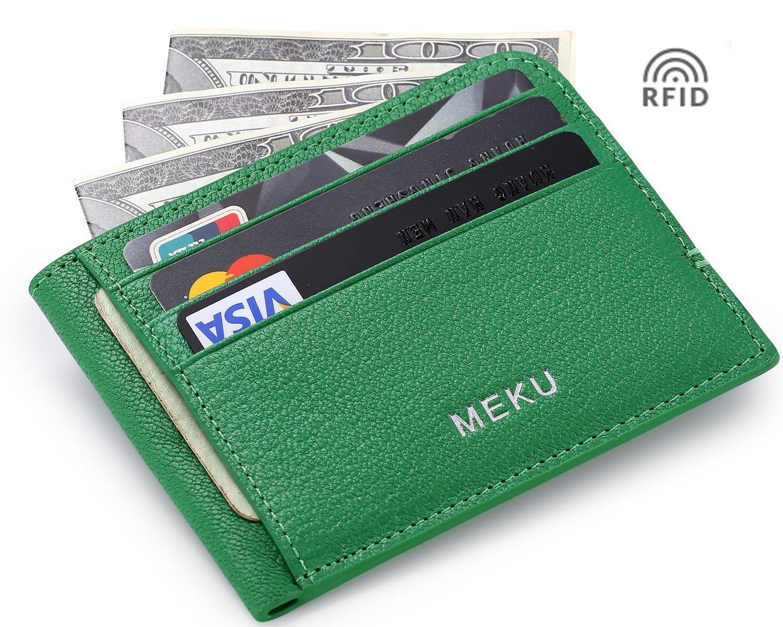 MEKU RFID Blocking Slim Leather Minimalist Money Clip Front Pocket Wallet Credit Card Holder Green (Upgraded Version)
