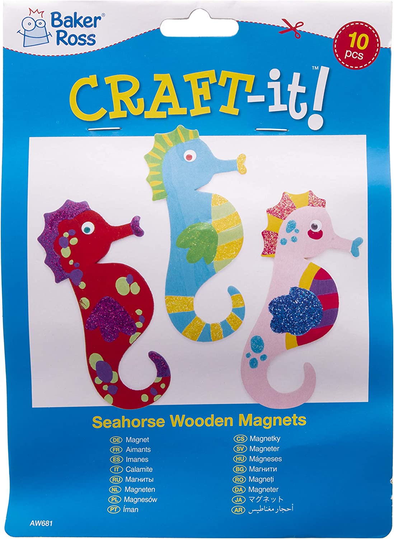 confezione da 10 Baker Ross Calamite in legno a forma di cavalluccio marino wood - Creazione da dipingere a forma di cavalluccio marino per bambini