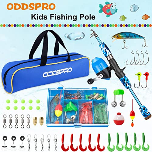 ODDSPRO Kids Fishing Pole, Portable Telescopic Fishing Rod and Reel Combo Kit – with Spincast Fishing Reel Tackle Box for Boys, Girls, Youth