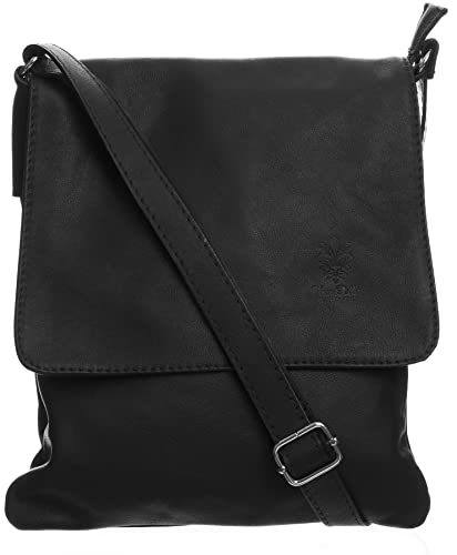 104b6a26a8 Big Handbag Womens Italian Real Soft Leather Cross Body Messenger Shoulder  Bag (Black)