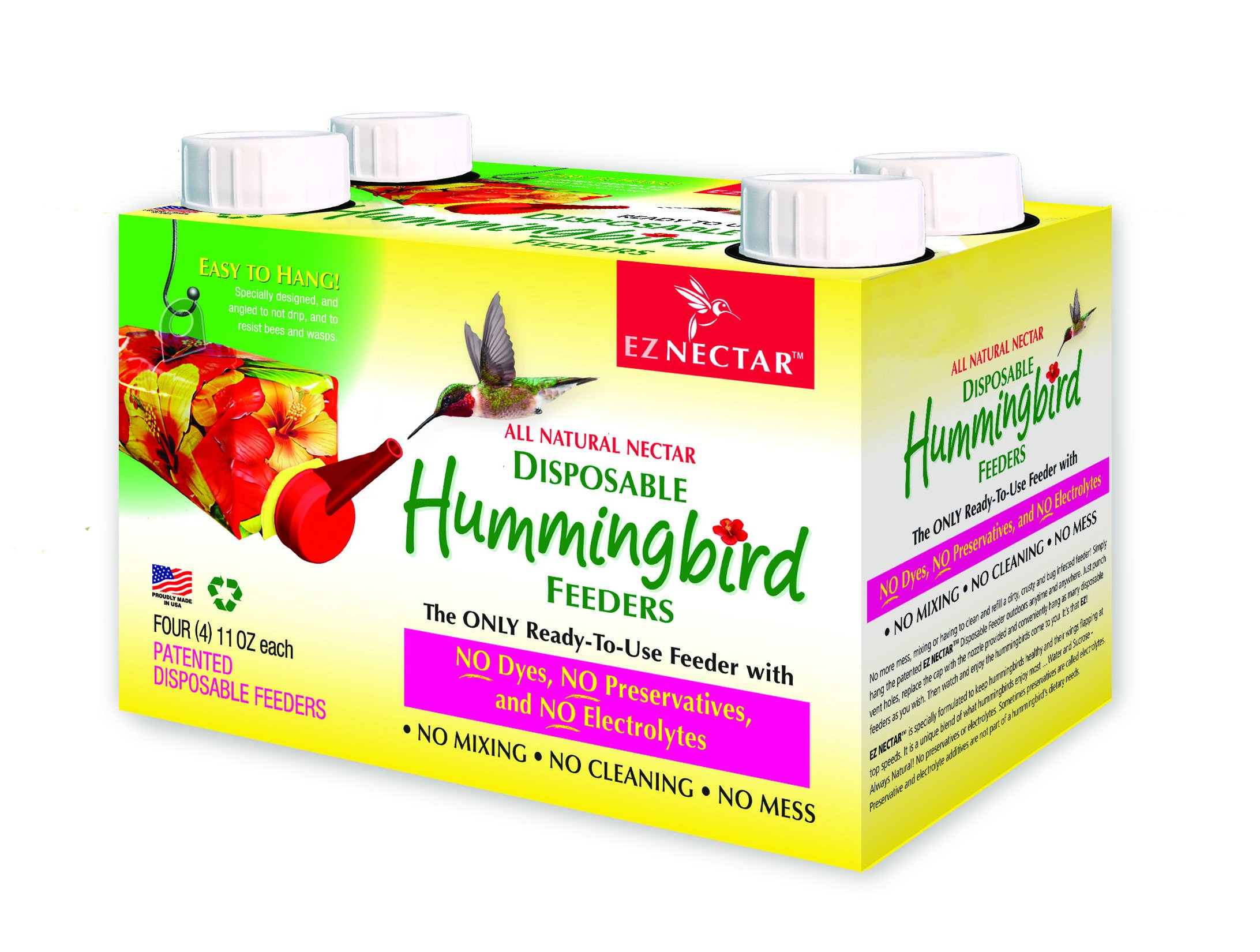 The Only Disposable/Recyclable, Ready-to-Use, Hummingbird Feeder-Prefllled w/Preservative and Dye Free''Exactly Like Flower'' Nectar. Never Clean Another Feeder. Patented. (4 Pack) 44 FL OZ TOTAL