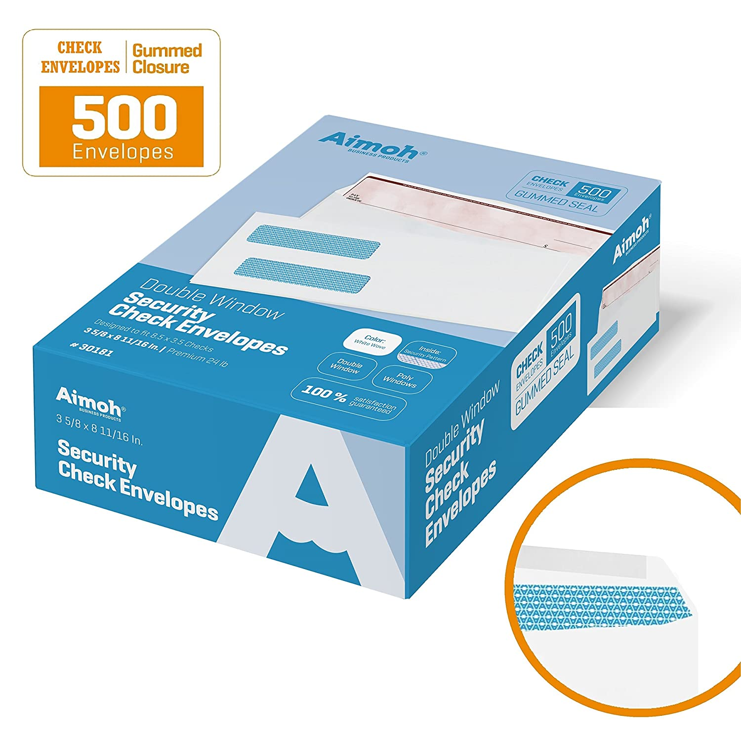 500 Double Window Check Envelopes - Size 3 5/8 x 8 11/16 for Business Checks, Perfect Fit (No Sliding or Moving) Security Tint - GUMMED Closure - 500 Count, NOT for INVOICES (30181) Aimoh