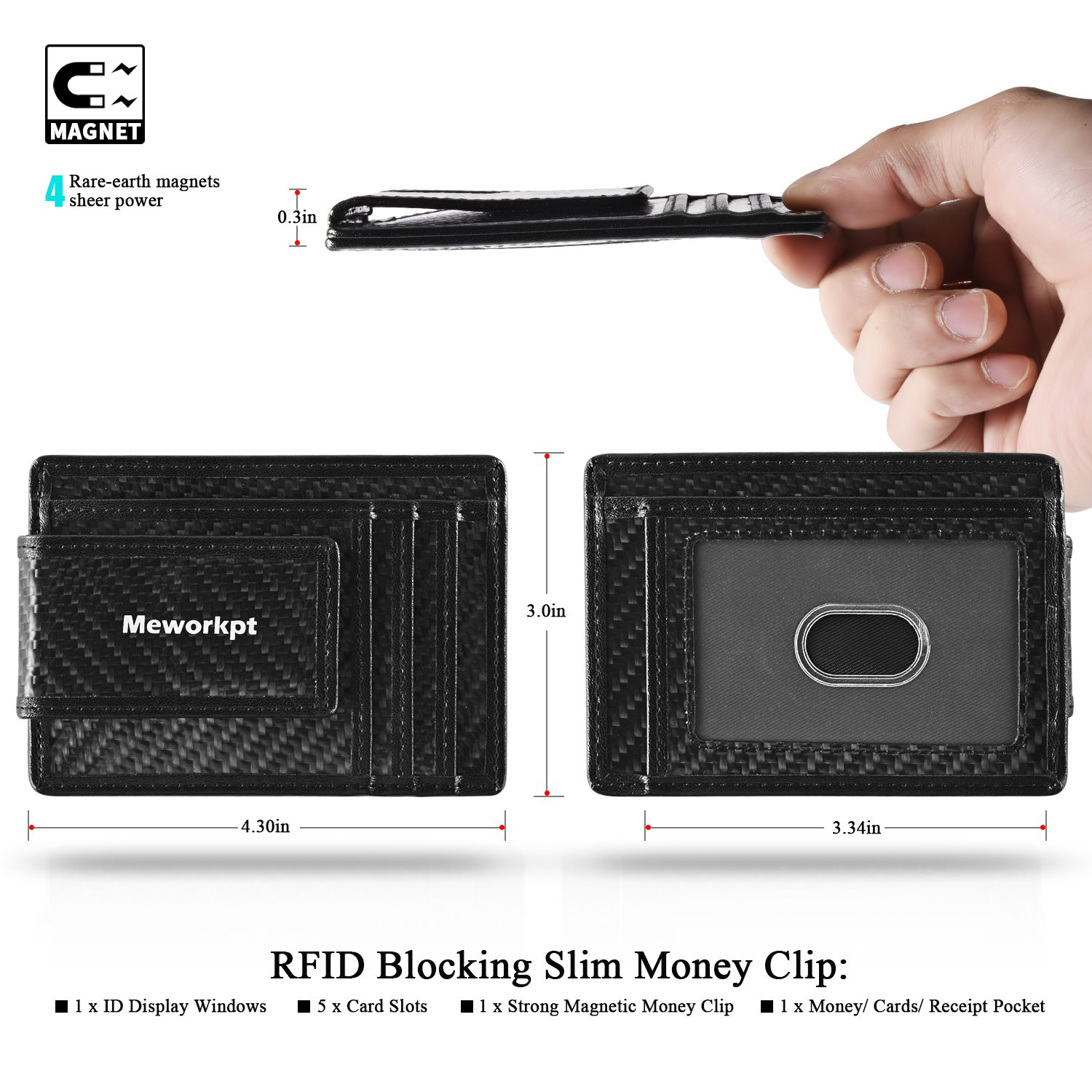 【Gift Box】MeWorkpt Carbon Fiber Front Money Clip Slim Minimalist Wallets with Powerful Magnets Plus RFID Blocking by MeWorkpt (Image #2)