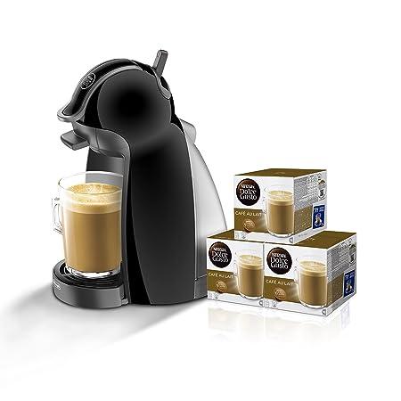 Pack DeLonghi Dolce Gusto Piccolo EDG200.B - Cafetera de cápsulas, 15 bares de presión, color negro + 3 packs de café Dolce Gusto Con Leche