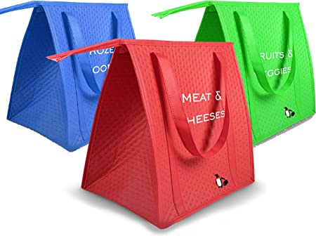 Amazon.com: Pack de 3 bolsas de compra con aislamiento ...