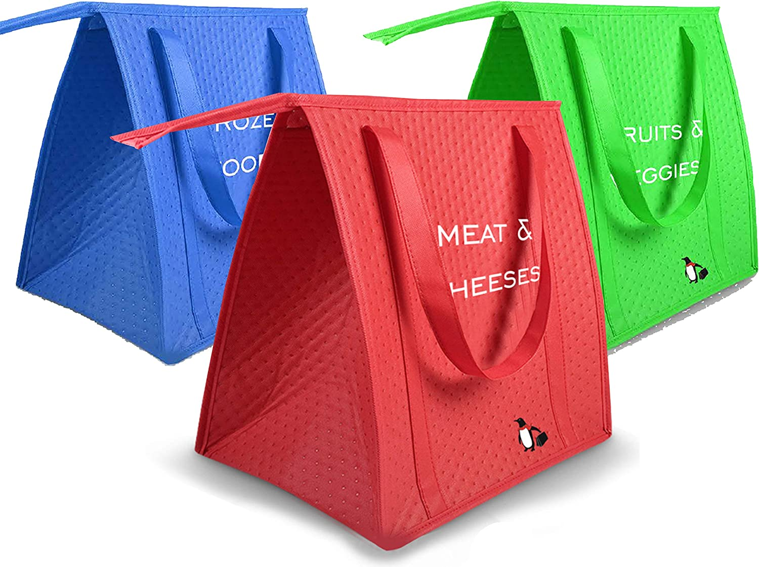 3 Pack Insulated Reusable Grocery Shopping Bags with Zippered Top, Collapsible Thermal Tote