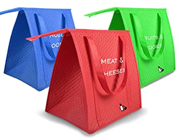Insulated Reusable Grocery Shopping Bag Set Of 3 Reusable Grocery Bags