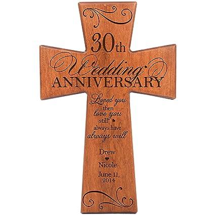 Amazon Personalized 30th Wedding Anniversary Cherry Wood Wall