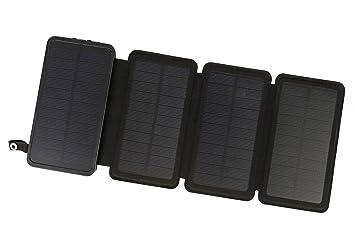Cargador Solar PowerLocus – [4 Paneles Eficientes] Cargador 12000mAh Resistente al Agua Para Emergencias, Cargador Con Batería Externa, Solar, ...