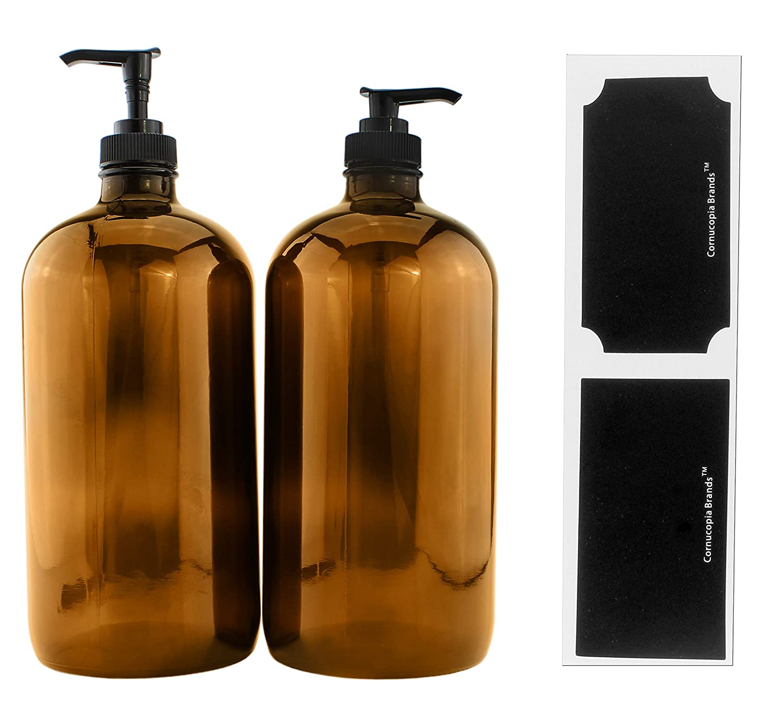 32-Ounce Amber Glass Lotion Pump Bottles (2-Pack); Quart Size Brown Bottles w/Black Plastic Soap & Lotion Locking Pump Dispensers; Includes Chalk Labels