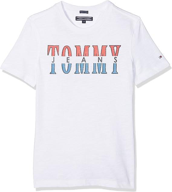 Tommy Hilfiger Essential Tommy Jeans Graphic tee S/s Camiseta, Blanco (Bright White 123), 128 (Talla del Fabricante: 8) para Niños: Amazon.es: Ropa y accesorios