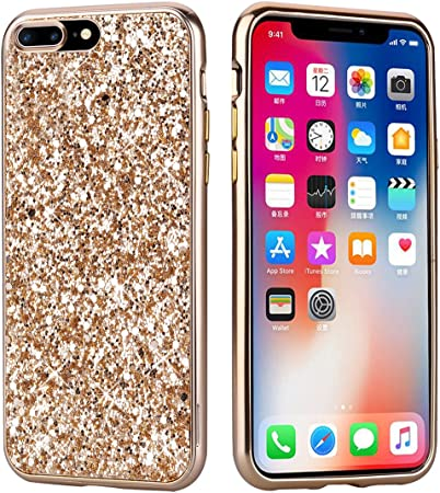 coque iphone 7 paillette or