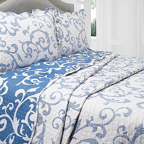 Teresa Reversible Quilt Set in Blue/White - BedBathandBeyond.com