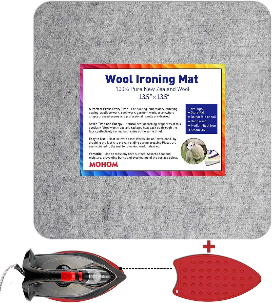 Perfect Ironing Station with Protective Ironing Pressing Pad and Silicone Iron Rest Pad 13.5 x 13.5 Wool Ironing Mat for Quilting New Zealand Wool Pressing Pad