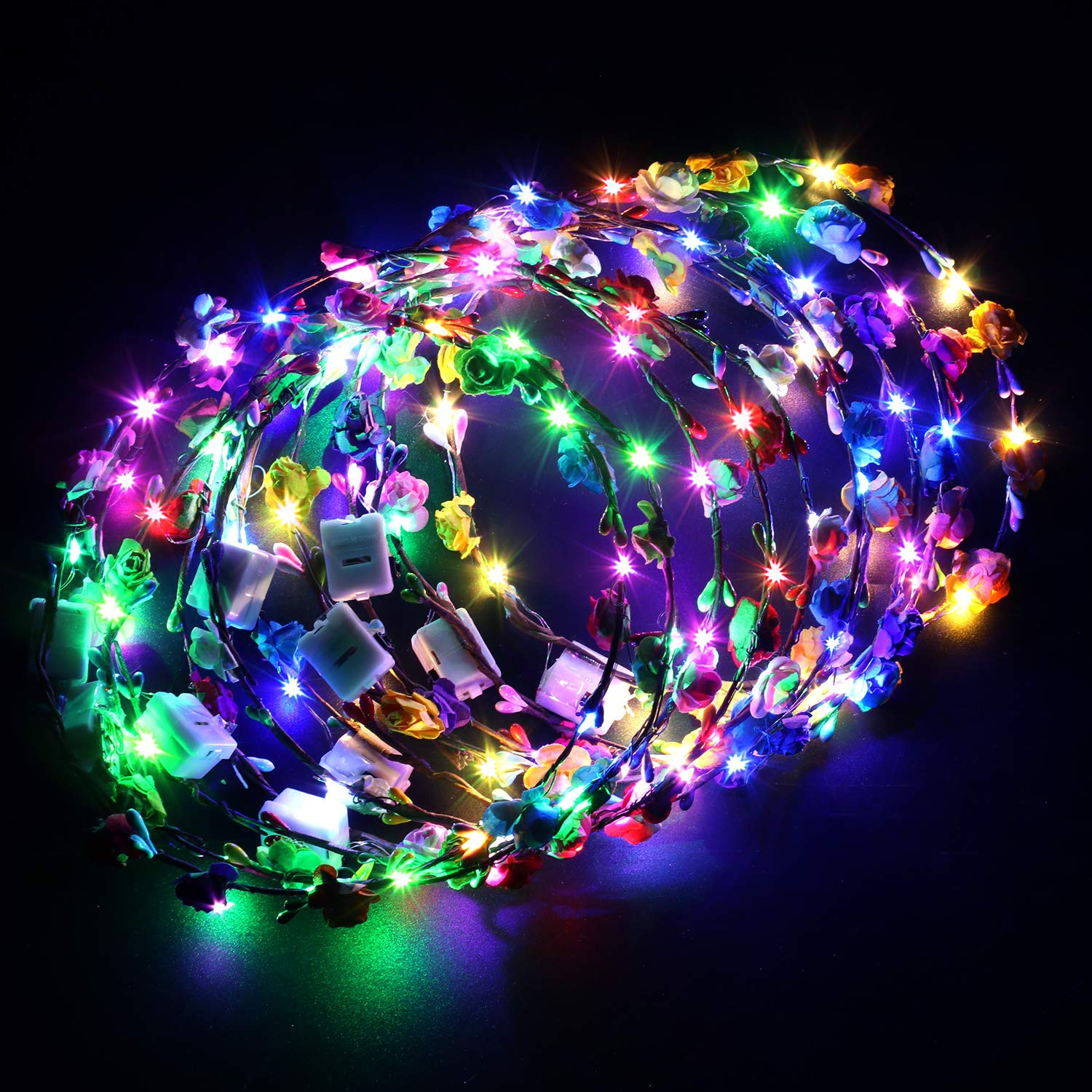 Fansport LED Flower Wreath Light Up Flower Headband Luminous LED Flower Crown Floral Head Crown for Wedding Festival Party Vacation Photography Props (10Pcs)