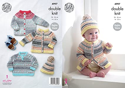0260d074841e Amazon.com  King Cole Baby Double Knitting Pattern Raglan Sleeve ...