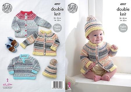 Easy Knit Baby Knitting Pattern Raglan Cardigans /& Sweaters King Cole DK 4808