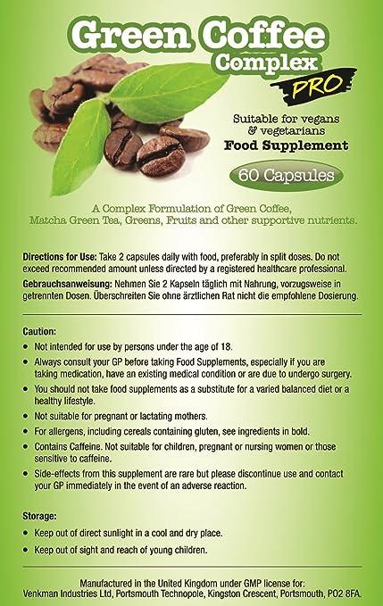 Complejo PRO de café verde para la pérdida de peso - 60 cápsulas - Mezcla fuerte de café verde: Amazon.es: Salud y cuidado personal