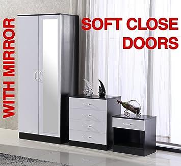 fairpak gladini high gloss mirrored 3 piece bedroom furniture set rh amazon co uk