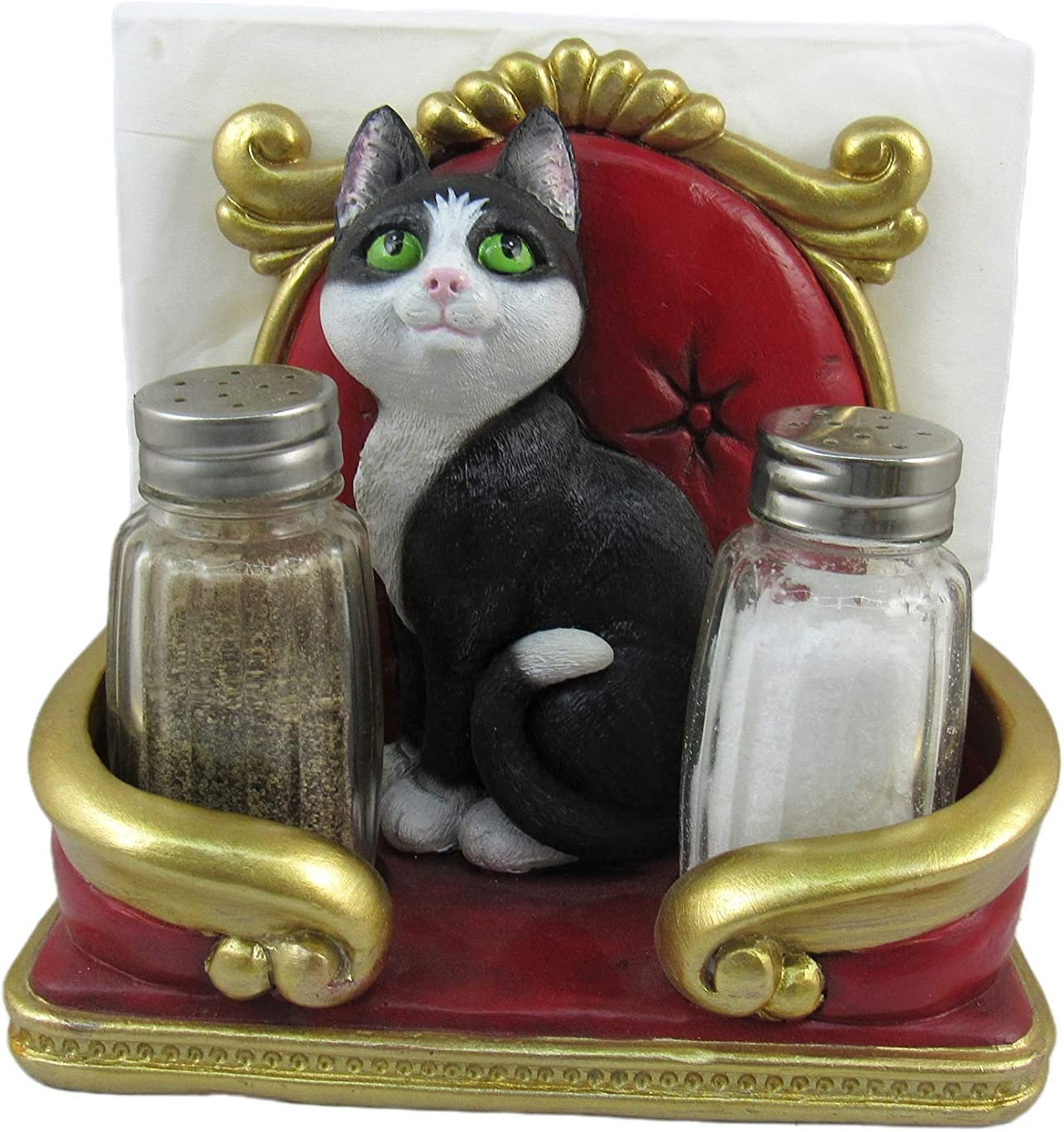 World of Wonders - Meow & Forever Series - Royal Catering - Collectible Decorative Tuxedo Cat Napkin Holder Salt & Pepper Shakers 3-Piece Caddy Set Home Decor Kitchen Accessory Dining Accent, 6-inch'
