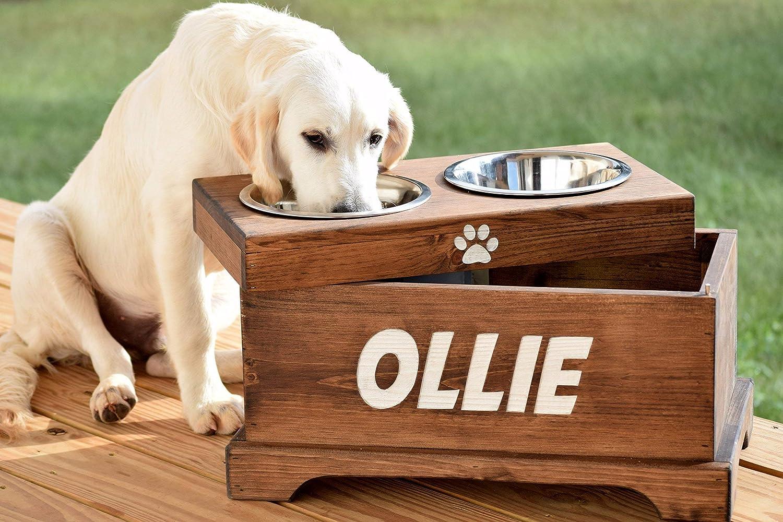 Rustic Dog Bowl Stand Raised Dog Feeder Raised Dog Bowl Pet Bowl Stand Elevated Dog Feeder and Storage Box Elevated Dog Bowl