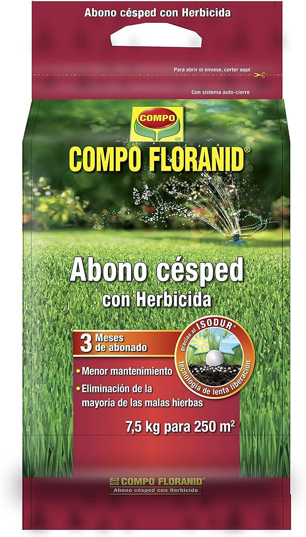 Compo FLORANID Abono césped con herbicida, Larga duración de hasta 3 Meses, para 250 m², 7.5 kg: Amazon.es: Jardín