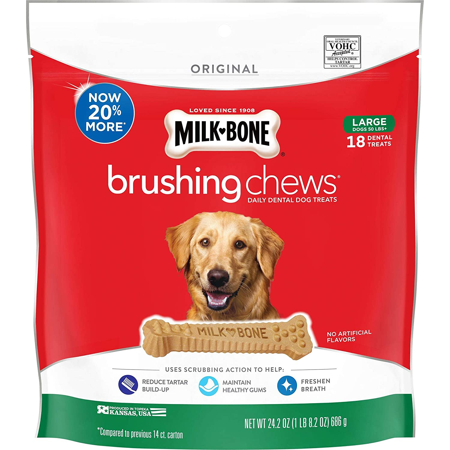Large Breed (18 Bones) Milk-Bone Brushing Chews Daily Dental Dog Treats, Large, 24.2 Ounce Pouch