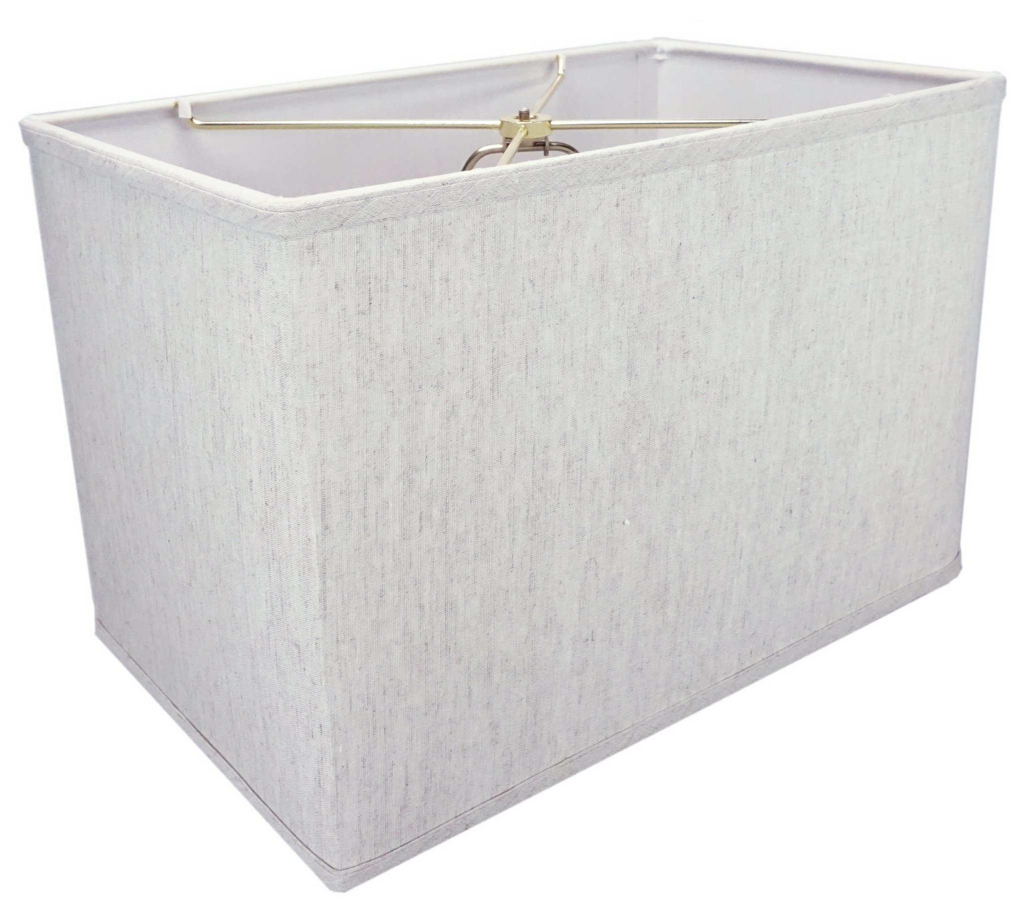 (10x16) x(10x16) x11 Rectangular Drum Lampshade Textured Oatmeal Linen with Brass Spider fitter By Home Concept - Perfect for table and Floor lamps - Large, Off-White