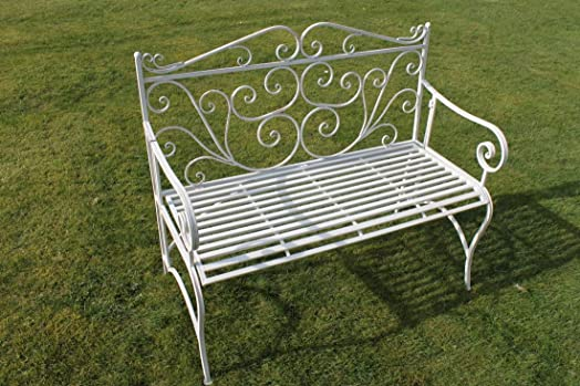 Captivating Versailles Folding Metal Garden Bench In Antique White Finish COMPLETE WITH  CUSHION WORTH £19.50