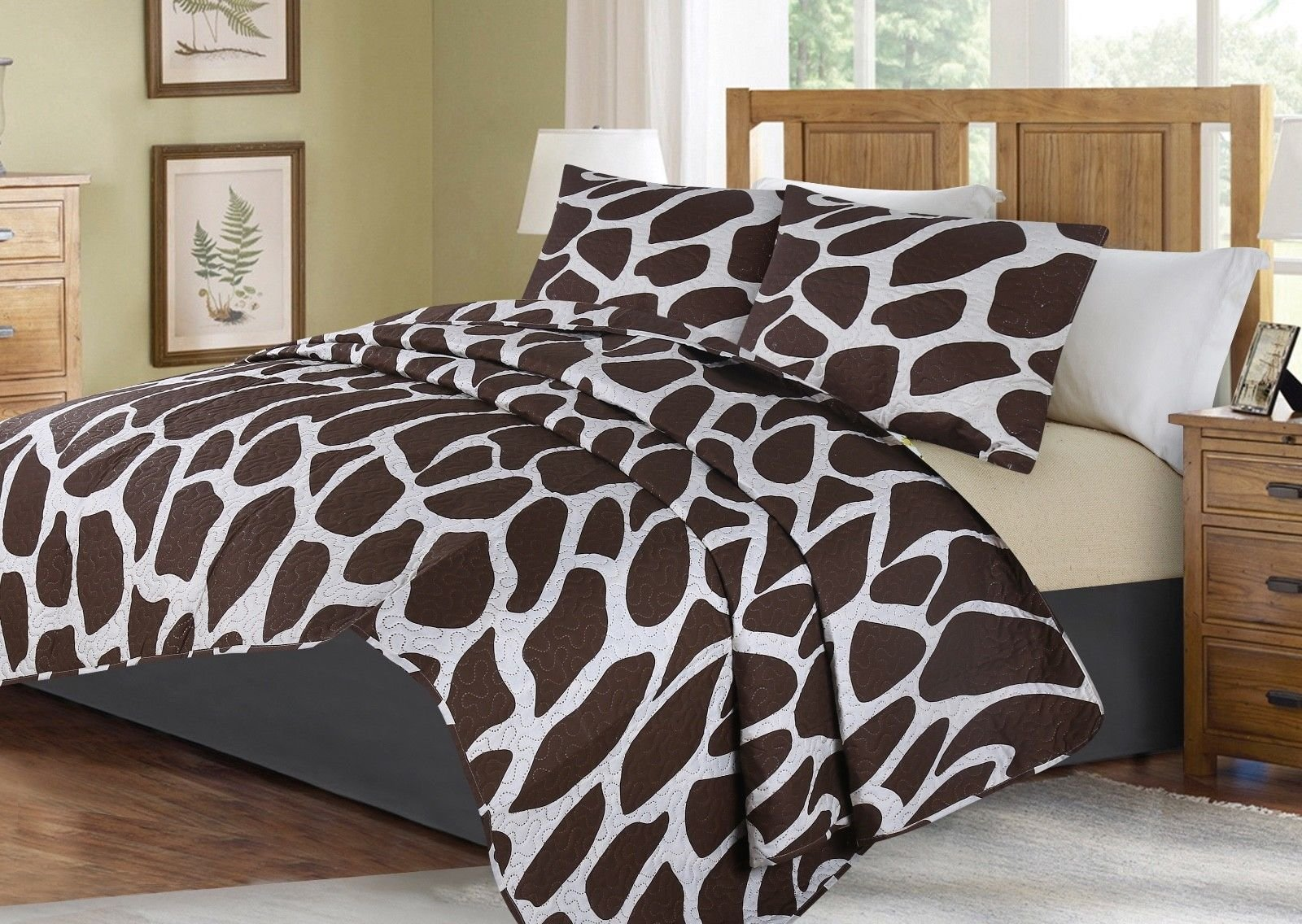no!no! Printed Animal Designs Bedspread Coverlet Quilt Set with Pillow Shams Animal 1# Size King
