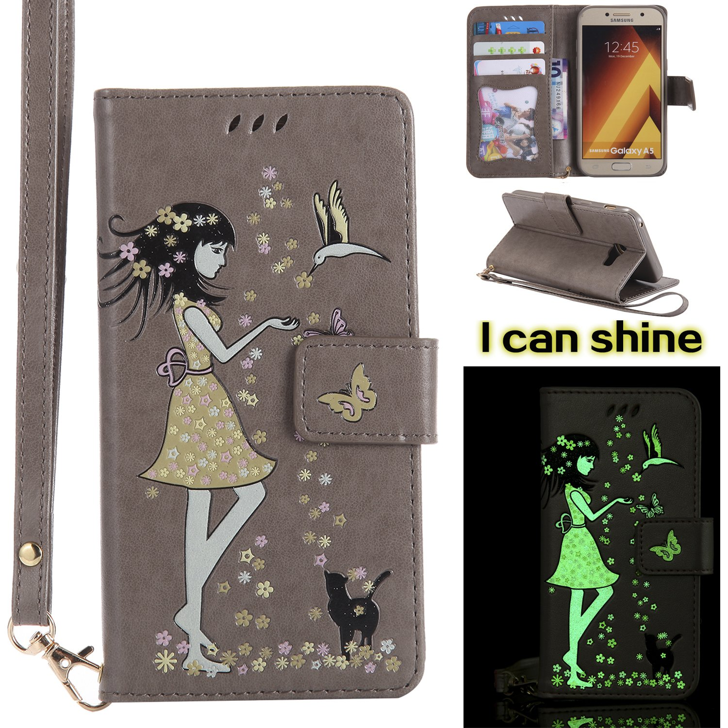 Flip Case Compatible with Samsung Galaxy A5 2017 FNBK Lather Wallet Flip Folio Luminous Glitter Woman Cat Design Cover Card Slot Stand Function Cash Pouch Shockproof Protective Case
